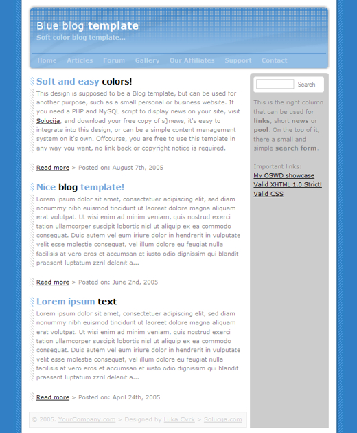 Blue Blog Template Layout 1